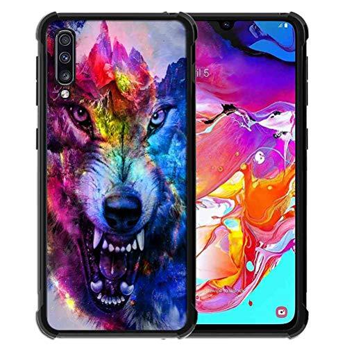 ABLOOMBOX Schutzhülle für Samsung Galaxy A70, stoßfest, weich, schlankes Gummi, Pro Maxtective Schutzhülle mit verstärkter Hülle für Galaxy A70 2019, Galaxy Wolf