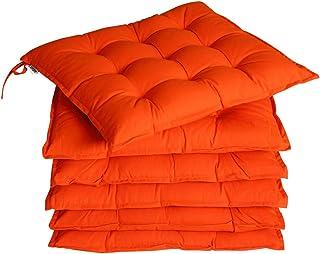 Detex 6X Coussins de Chaise 45x45cm Orange Fibres Creuses intérieur extérieur sièges Coussin de Chaise de Jardin Salon