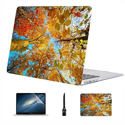 4 in 1 Laptop Case for MacBook 11 inch air 2012-2015 A1465/a1370 Case,Plastic Hard Shell Case Cover and Mouse Pad & Screen Protector,Autumn Trees Forest Clear Blue Sky