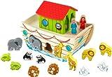 KidKraft 63244 Trieur de formes en bois Arche de Noé, jeu d'éveil, puzzle premier âge, jouets enfant incluant personnages et animaux