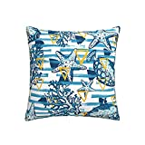 RETRUA Fundas de cojín con diseño de estrella de mar azul de coral y peces, decoración del hogar, para sala de estar,...