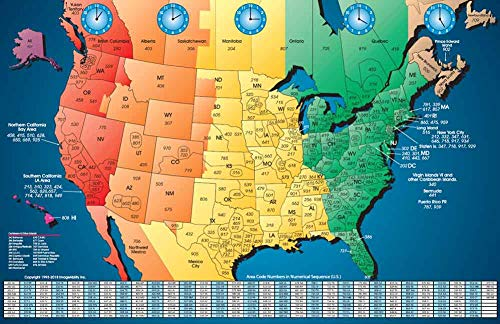 North America Satin Finish Full Color Time Zone Area Code Map with Reverse Lookup, Large 24 by 35 Inch Wall Size