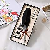 Onior Caja de lápiz de Color Pluma Hermosa Pluma de Turquía Quill Tinta for Escribir los Efectos de Escritorio de la Pluma Regalo 5 plumilla Boda del Regalo de la estilográfica