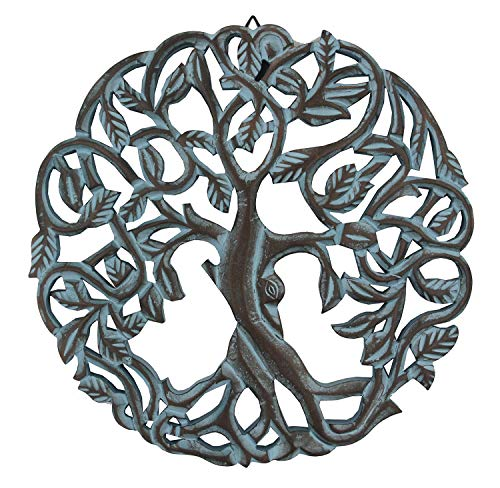 DharmaObjects Handcrafted Wooden Celtic Tree of Life Wall Decor Hanging Art (Turquoise)