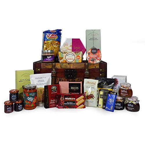 """Gourmet Food """"Pantry Essentials"""" Gift Hamper 23 Items Presented in a Vintage Style Chest - Ideas for Christmas, Birthday Presents, Anniversary, Wedding, Him, Her, Business, Corporate"""