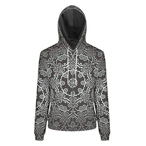 XJJ88 Unisexe Avant Fermeture Éclair Sweat-shirts Double Couche Adolescents Étudiants Noir Mandala Graphique Décontracté - Rayures Coton Polaire Doux & Confortable Chemisier de Sport XL blanc