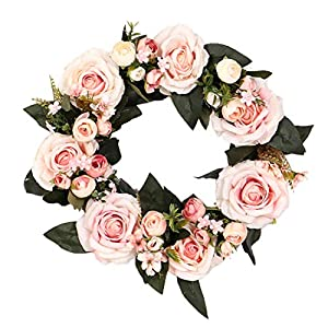 YuHuaFUShi Pink Rose Flower Wreath Artificial Flowers Silk Front Door Wreath for Spring Summer & Fall Wall Decor 17.7 Inch