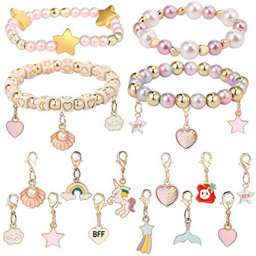 PinkSheep Charm Bracelet Beads Bracelet BFF Bracelet Making Kit for Kids Girls 16PS Charms Unicorn Mermaid Rainbow Best Friends Fashion Jewelry Gift for Kids
