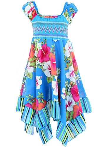 GILLSONZ Neu604vDa Mädchen Kinder Sommer Freizeit Kleid (122/128, Türkis(604))