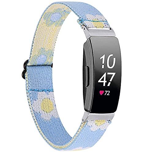Miimall Compatible con Fitbit Inspire 2/Inspire/Inspire HR, correa de repuesto ajustable con hebilla de metal suave de nailon elástico para Fitbit Inspire – Azul girasol