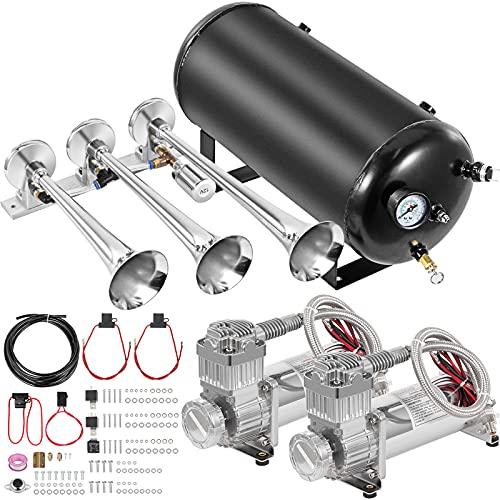 VEVOR Train Horn Kit 12 Volt Semi Horn Kit, 3 Trumpet Horn Blaster Air Kit, Super Loud 170 Decibels Train Horn Kits for Trucks,with 5 Gallon Tank & Two 200 PSI Air Compressors Complete System