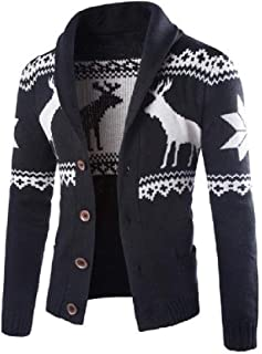 Howely Men's Cardigan Sweaters Knitted Shawl Collar Sweater with Front Button