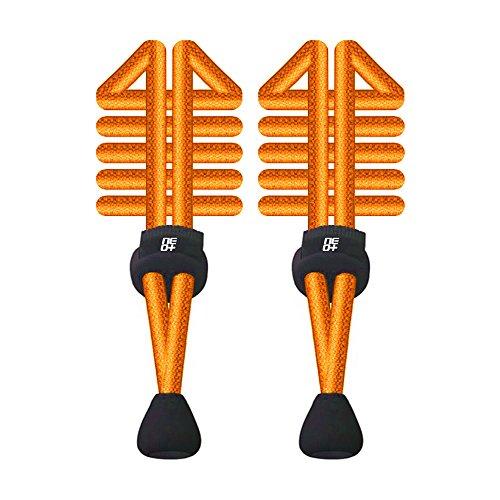 Elastische Schnürsenkel mit Schnellverschluss, rund, für Laufen/Triathlon 1 SET NEON ORANGE
