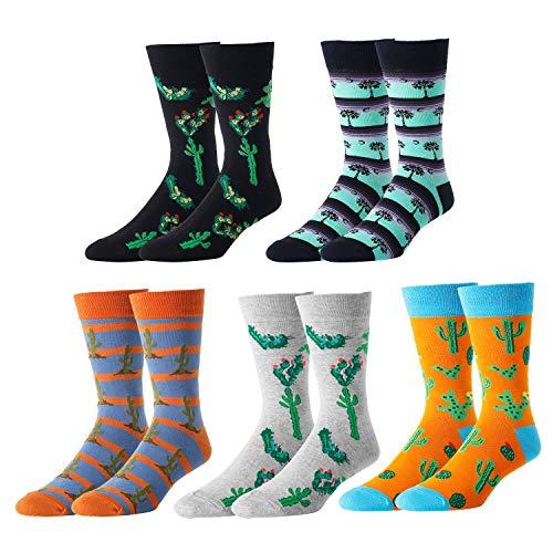 Frcisa Mens Fun Crazy Novelty Wacky Stripe Athletic Casual Cotton Dress Tube Crew Socks (5 Pack-cactus)