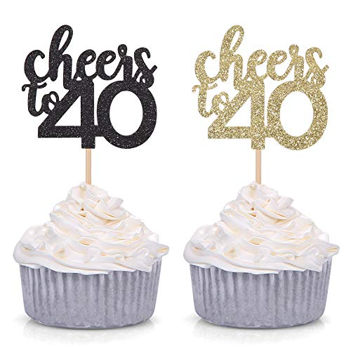 24 x 40TH BIRTHDAY BLACK GOLD BLING Edible Cupcake Wafer Icing Cake Toppers