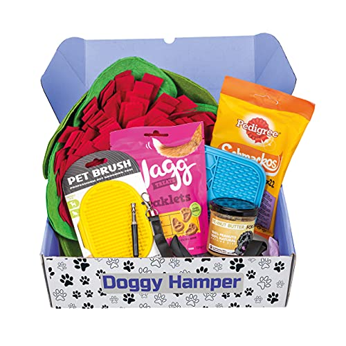 Dog Hamper Gift Present for a New Puppy, Dog Birthday, or Christmas   6 items, Snuffle Mat, Lick Mat, Dog Treats, Peanut Butter, Whistle and more