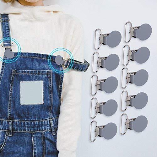 10 Stücke Hosenträger Clips, 25mm Metall Durable Runde Hosenträger Schnullerband Halter Bib Clip Straps Schnalle DIY Machen Lieferungen(Grau)
