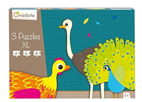 Avenue Mandarine 42701O - Une boite de 3 puzzles XL (4, 6 et 8 pièces), Animaux à plumes