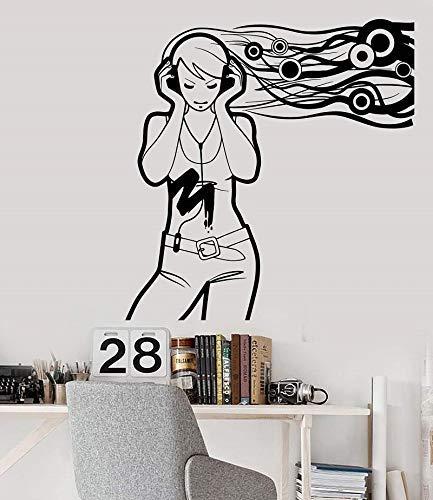 Calcomanías De Pared Lámpara De Pared De Vinilo Amantes De La Música Femenina Calcomanía Para Auriculares, Cartel De Dormitorio Escolar, Dormitorio Familiar, Decoración De Arte 57X60Cm