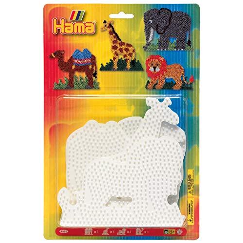 Hama Perlen 4554 Große Stiftplatten 4er Set für Midi Bügelperlen mit Durchmesser 5 mm, Tier Motive Elefant, Giraffe, Löwe, Kamel in weiß, kreativer Bastelspaß für Groß und Klein