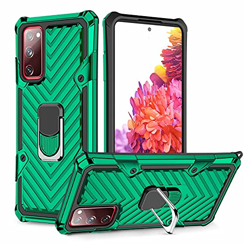 Lijc Compatible con Funda Samsung Galaxy S20 Plus 4G/5G [Protector de Pantalla] 360 ° Giratorio Titular de Anillo Grado Militar Cubierta con Magnético Soporte para Coche Difícil Caso-Verde Oscuro