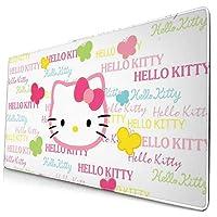 マウスパッド Hello Kitty ハローキティ ゲーミングマウスパッド デスクマット ゲーミングpc パソコンデスク 大型 布製 ラバーベース 防水 安定性 ゲーミング 学校 寮 会社 オフィス プレゼント お手入れ簡単 かわいい おしゃれ シンプル 750mm*400mm*3mm