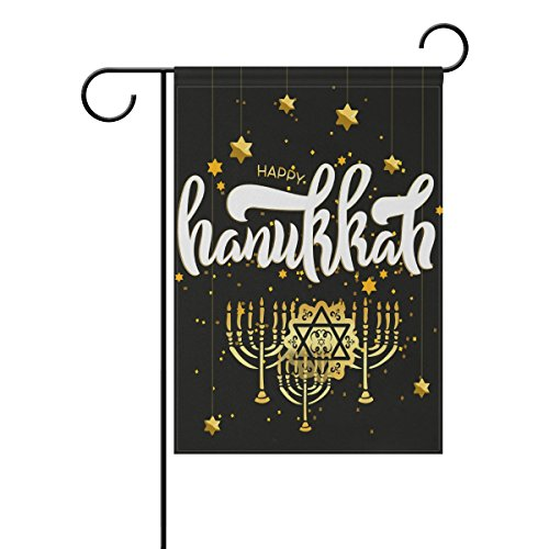 ALAZA Cooper Girl Gold Star Hanukkah Menorah Garden Flag Yard Banner Polyester for Home Flower Pot Outdoor Decor 12X18 Inch