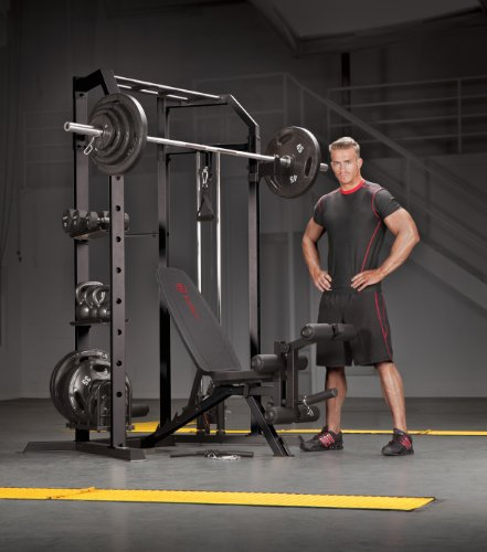 Marcy Olympic Multi-purpose Strength Training Cage with Pull Up Bars/Adjustable Bar Catchers and Pulley SM-3551