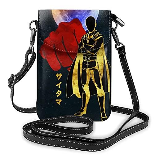 Saitama Anime - Bolso bandolera para mujer, tamaño pequeño, para teléfono celular, cartera