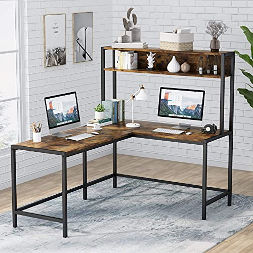 Tribesigns L-förmiger Schreibtisch mit Stall, Arbeitsplatz, Arbeitszimmer, Computertisch mit Ablagefächern