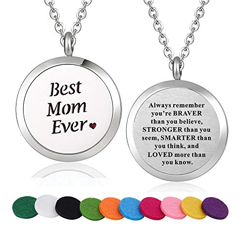 Stainless Steel Best Mom Ever Aroma Therapy Aromatherapy Essential Oil Diffuser Necklace Locket Pendant (Style 28)