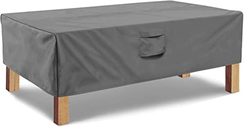 Vailge Rectangular Coffee Table Cover - Outdoor Lawn Patio Furniture Covers with Padded Handles and Durable Hem Cord ...