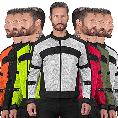Motorcycle Jackets for Men Viking Cycle Ironside Men's Mesh Motorcycle Jacket (Silver, X-Large)