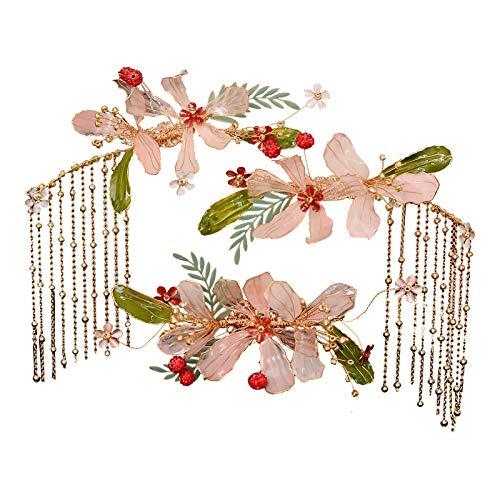 wangk Más Nuevo diseño Rosa Diamond Diadema China Antigua Novia con Cuentas Flores de Pelo Pines y Clips Borla Pendientes Boda