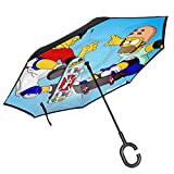 Foldable Umbrella,Anime The SIM_Psons Season Car Reverse Umbrella Perfekte Reiseschirme Für Outdoor-Aktivitäten,80cm(H) x108cm(Dia)