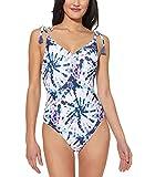 Photo de Jessica Simpson V Neck One Piece Swimsuit Bathing Suit Maillot de Bain Une Pice, Mist Tie Dye, XL Femme