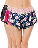 Ashford & Brooks Women's Satin Lace Trim Knicker Shorts 3 Pack - Hibiscus Pack - X-Large