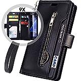 Galaxy J7 Case 2018 Wallet/J7 Star/J7 V 2nd/J7 Crown/J7 Refine Case,Auker 9 Card Holder+Kickstand Flip Leather Magnetic Zipper Wallet Purse Case with Strap/Money Pocket for Samsung J7 Eon (Black)