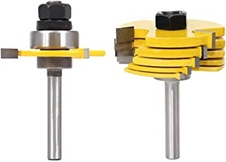 """Eyech Carbide Slot Cutter Router Bit Assembly 6 Cutters with Arbors Woodworking Tool -1/4"""" Shank"""