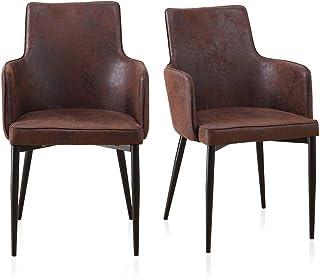 TUKAILAI 2 sillones tapizados para uso múltiple para comedor con revestimiento de polvo patas de oficina, sillas de recepción, sillas de restaurante, sillas de reunión, piel sintética marrón