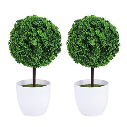 Wakauto Satz von 2 Kleinen Realistischen Künstlichen Buchsbaum-Topiary-Bäumen/Künstlichen Tischpflanzen Weißen Keramiktöpfen
