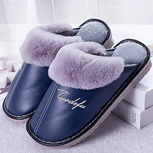 Winter Cotton Slippers Warm Non-Slip Couple Comfort Memory Foam Slippers Lined House Shoes w/Indoor Outdoor Anti-Skid Rubber Sole@Navy_260 (36-37)