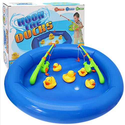 Entenfangen Angeln Spiel - Inklusive aufblasbarem Planschbecken, Enten 6 kleine 4 große, 2 Angelruten - Kinder geburtstage, Garten, badewanne, Wasser spiel Sommer spielzeug - Kindercamp etc.