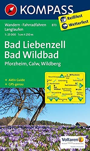 Kompass WK873 Bad Liebenzell, Bad Wildbad: Wandelkaart 1:25 000