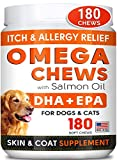 Fish Oil Omega 3 Treats for Dogs - Allergy and Itch Relief - Skin and Coat Supplement - Joint Health - Wild Alaskan Salmon Oil - Shedding, Itchy Skin Relief - Omega 3 6 9 - EPA & DHA - 180 Chews