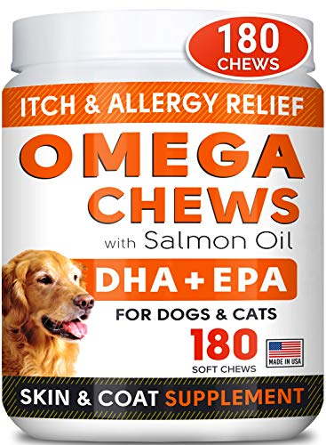 STRELLALAB Fish Oil Omega 3 Treats for Dogs – Allergy Relief – Joint Health – Itch Relief, Shedding – Skin and Coat…