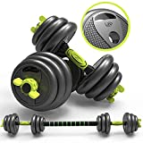 Mancuerna Kit Regulables con Pesas Barra 3 en1 Ajustable Juego Pesas Fitness En Casa Conector 10/20/30KG Gimnasio en Casa,40LBS