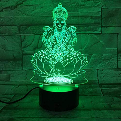 DFDLNL Hinduismus Visnu Abbildung USB 3D Led Nachtlicht Religion Glaube Dekorative Lichter RGB Mutter Mutter Geschenk Schreibtischlampe Schlafzimmer