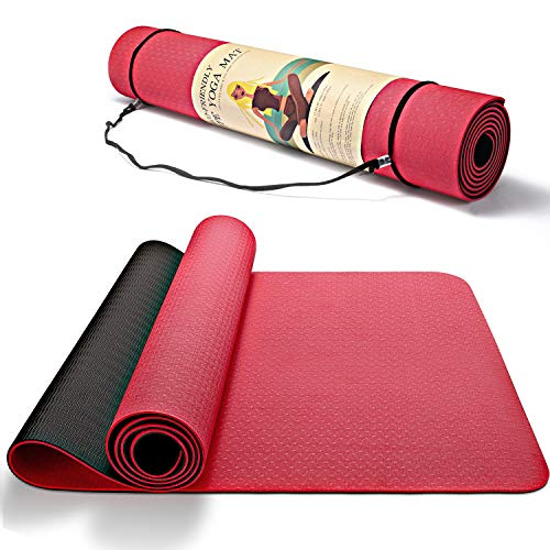 """Smartor Yoga Mat, 6mm Thick Yoga Mat Non-Slip Exercise Fitness Mat with Carrying Strap, Eco Friendly Workout Mat for Yoga, Pilates & Floor Exercises, 72"""" x 24"""" x 1/4"""", Red"""