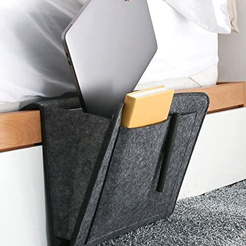 MeYuxg seitentasche bett, sofa organizer Dicke Filz Anti-Rutsch nachttisch organizer, bettablage zum einhängen, für Fernbedienung, Zeitschriften, iPad, Handy, Buch (Groß, dunkelgrau)